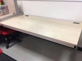 Beech and silver rectangular Office Desk