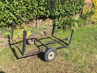 Small trailer metal chassis with wheels, tow bar and electric socket