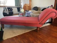 VINTAGE SHABBY CHIC RASPBERRY DEEP PINK STUD DETAIL CHAISE LOUNGE SOFA