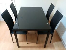 Glass Dining Table & 4 Black Chairs