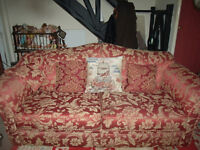 lovely antique vintage sofa high back french style red gold