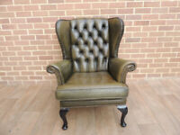 Queen Anne Vintage Armchair - Chesterfield Wingback (UK Delivery)