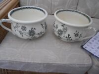2 MATCHING CHAMBER POTS CREAM AND GREEN DESIGN ANTIQUE WITH PROOF OF STAMP