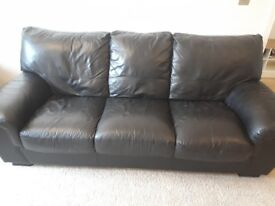 Black 3 seater soft leather sofa