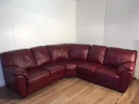 Burgendy real leather corner sofa with free delivery within 10 miles