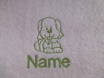 - DOG Embroidered onto Towels, Bath Robes, Hooded Towel with Personalised name