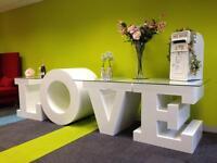 3 Metres Long LOVE Table, 4ft LOVE letters, LED Dance Floor, Post Box, Red carpet