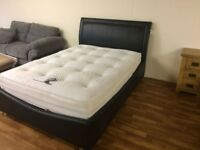DOUBLE LEATHER OTTOMAN STORAGE BED FRAME DELIVERY AVALIABLE