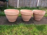 Heavy clay terracotta garden plant pots x 3