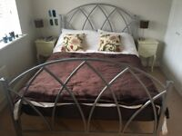 King Size Bed (cast iron, silver, wooden slatted base)