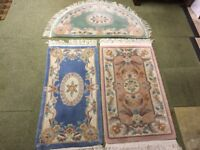 Quality blue 100% wool lined rug in very good condition