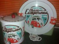 Retro campervan biscuit tin and tray