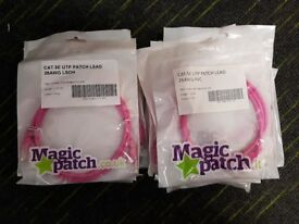 44x PATCH LEADS- VARIOUS COLOURS- CAT5E- CAT6 - 1M - 2M - JOB LOT - MAGIC PATCH - See Description