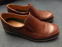 Mens Hush Puppy shoes - slip-on brown tan leather - size UK 12 Hush Puppies