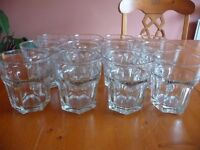 SET OF 12 GLASS TUMBLERS FOR SALE - BOUGHT FOR A PARTY BUT NEVER USED