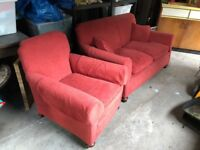 Red fabric sofa and 2 armchairs