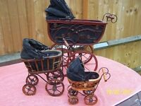 OLD DISPLAY ANTIQUE STYLE DOLLS PRAMS X 3