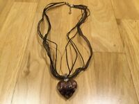 🌟 *MURANO GLASS HEART pendant Purple Gem NECKLACE Xmas Gift new UK SELLER *🌟
