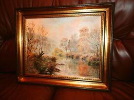 "Rex Preston Lovely original oil painting ""Autumn Twilight in Wyedale"""