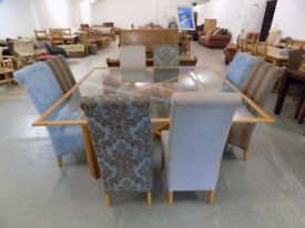 Beautiful 6FT Square Rustic Solid Oak & Glass Table With & 8 Chairs