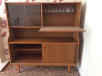 Teak sideboard with glass display section, drinks cabinet, cupboard and 3 drawers (1 for cutlery)