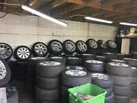 ALLOY WHEELS AND TYRES-BMW-MERC-AUDI-PORSCHE-JAGUAR-SETS OF 4 FROM £200 WITH TYRES.