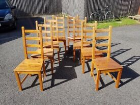 8 Ikea Solid Wood High Ladder Back Chairs FREE DELIVERY 612