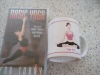 Basic Yoga VHS video (Maxine Tobias) and a 'Yoga Girl' Mug.