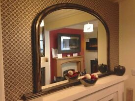 Large Over Mantel Mirror Upcycled Unique Item