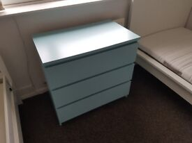 Chest of 3 Drawers, Turquoise, Ikea Malm