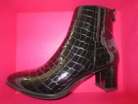 Russell & Bromley hi-shine black croc printed leather patent heel ankle boots unworn