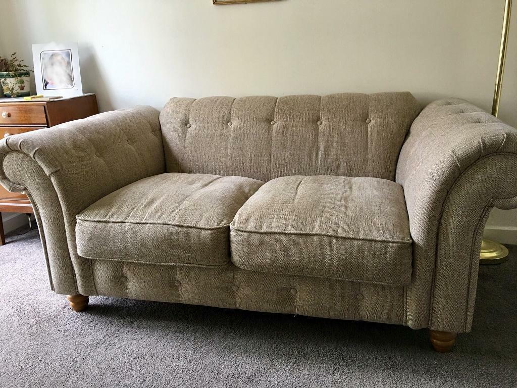 Two Seater Sofa Pouffe And Wing Back Chair