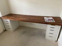 Ikea Desk - Karlby Top and 2x Alex Drawer Units + 4 legs
