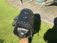 black leather back luggage bag for harley davidson type cruiser bikes