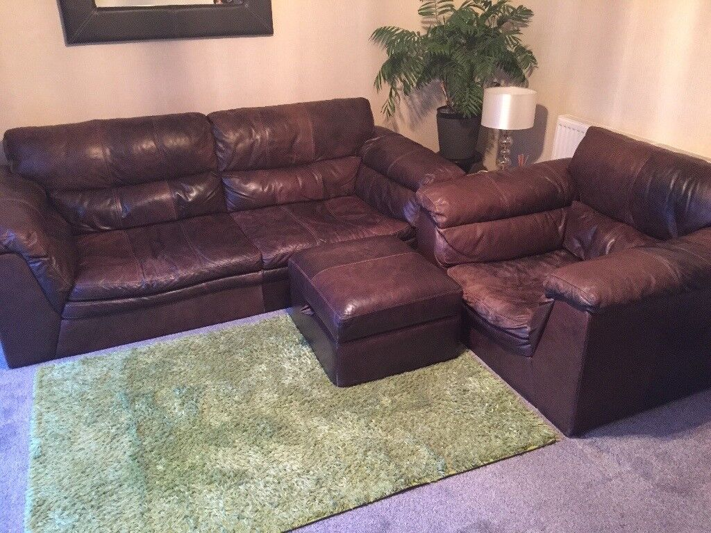 2 seater sofa & arm chair with puffy