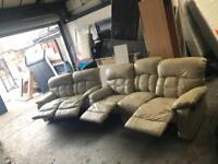 Cream leather sofa set manual recliner