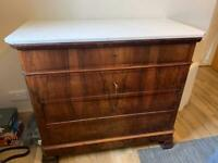 !9th Century Antique French Walnut Chest of Drawers Commode with a marble top