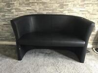 Black leather jds two seater small