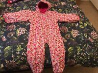Jojo Maman Bebe Girls Waterproof Fleece Lined All-In-One age 2-3 yrs
