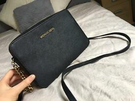 Michael kors black leather cross body handbag