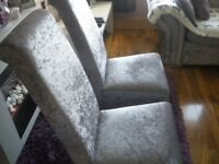 2 silver crushed velvet high back dining chairs