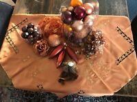 Bronze Brown and Gold Christmas Decorations: Baubles, Tinsel, Angel, Rose, Tablecloth & More