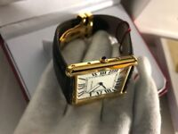 New Swiss Men's Cartier Tank Solo Golden Case Watch