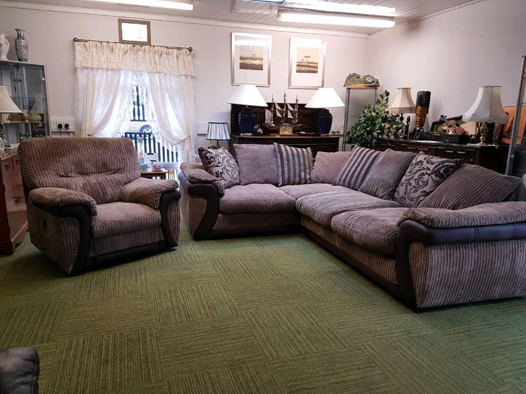 Brown Corner sofa and electric recliner