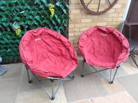 Set of 2 moon shaped Outwell comfort camping chairs