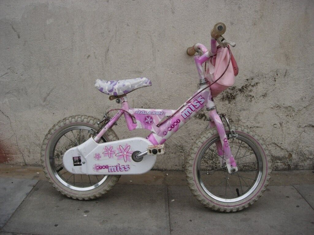Girls Bike By Raleigh Pink Good Condition 14 Inch For Kids 4 Years