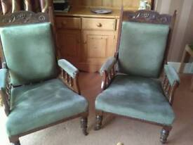 Two Edwardian armchairs