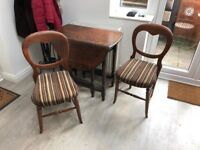 Antique Oak wood Folding Table and chairs