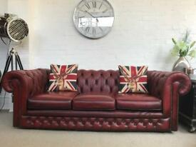 Vintage oxblood Chesterfield sofa. Can deliver.,