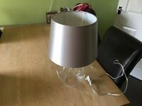 Silver and glass table lamp like new.
